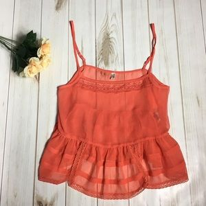 Free People Neon Adjustable Strap Cami Tank Top